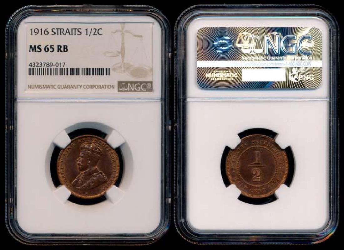Straits Settlements KGV 1/2c 1916 NGC MS65RB