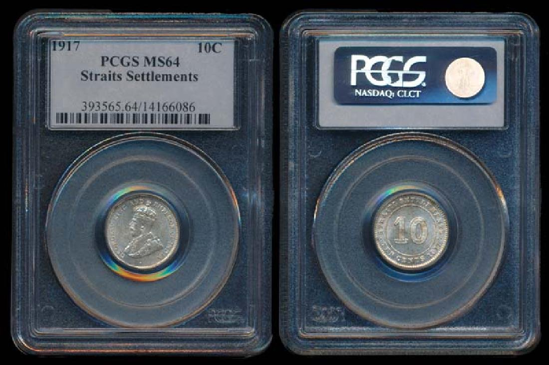 Straits Settlements KGV 10c 1917 PCGS MS64