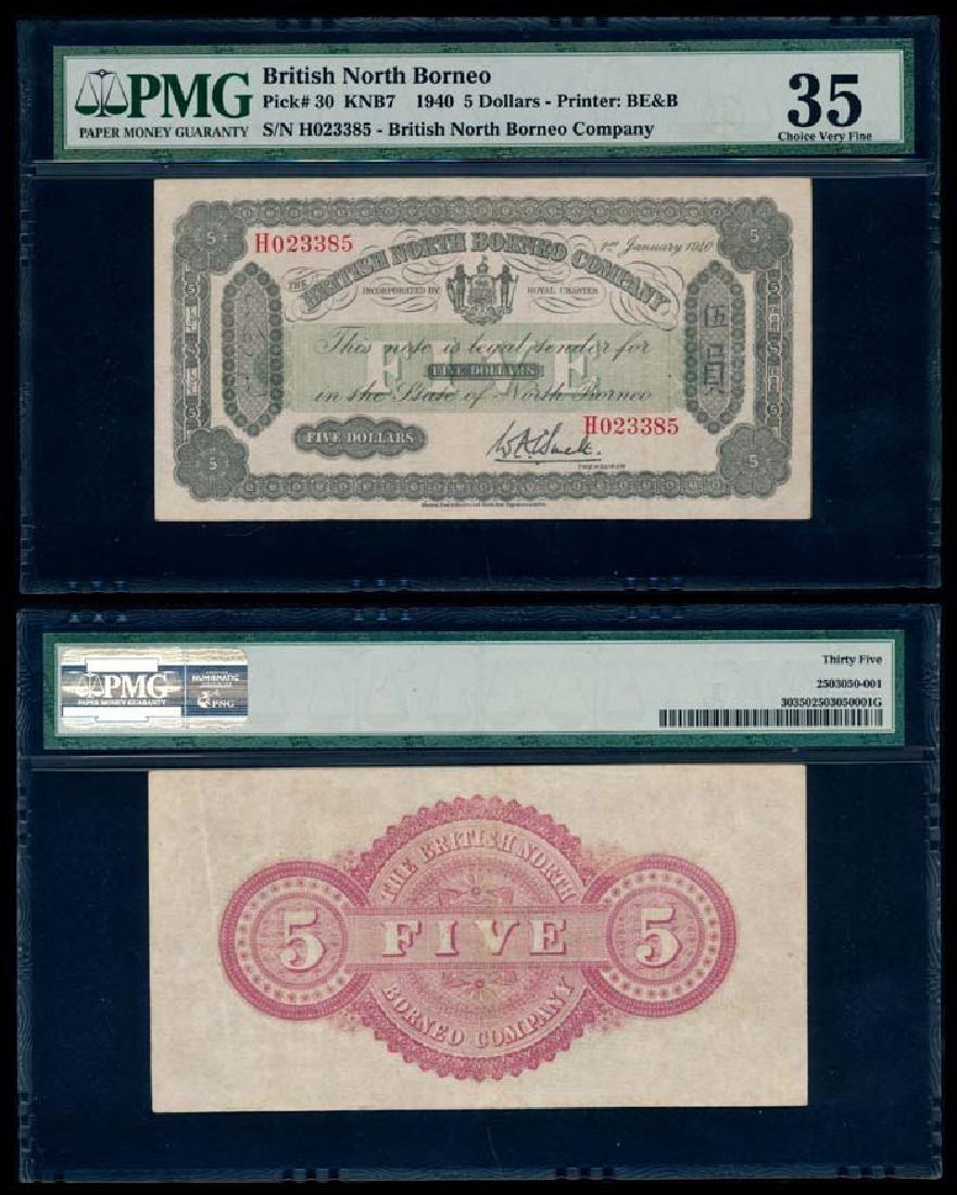 British North Borneo $5 1940 PMG Choice VF35
