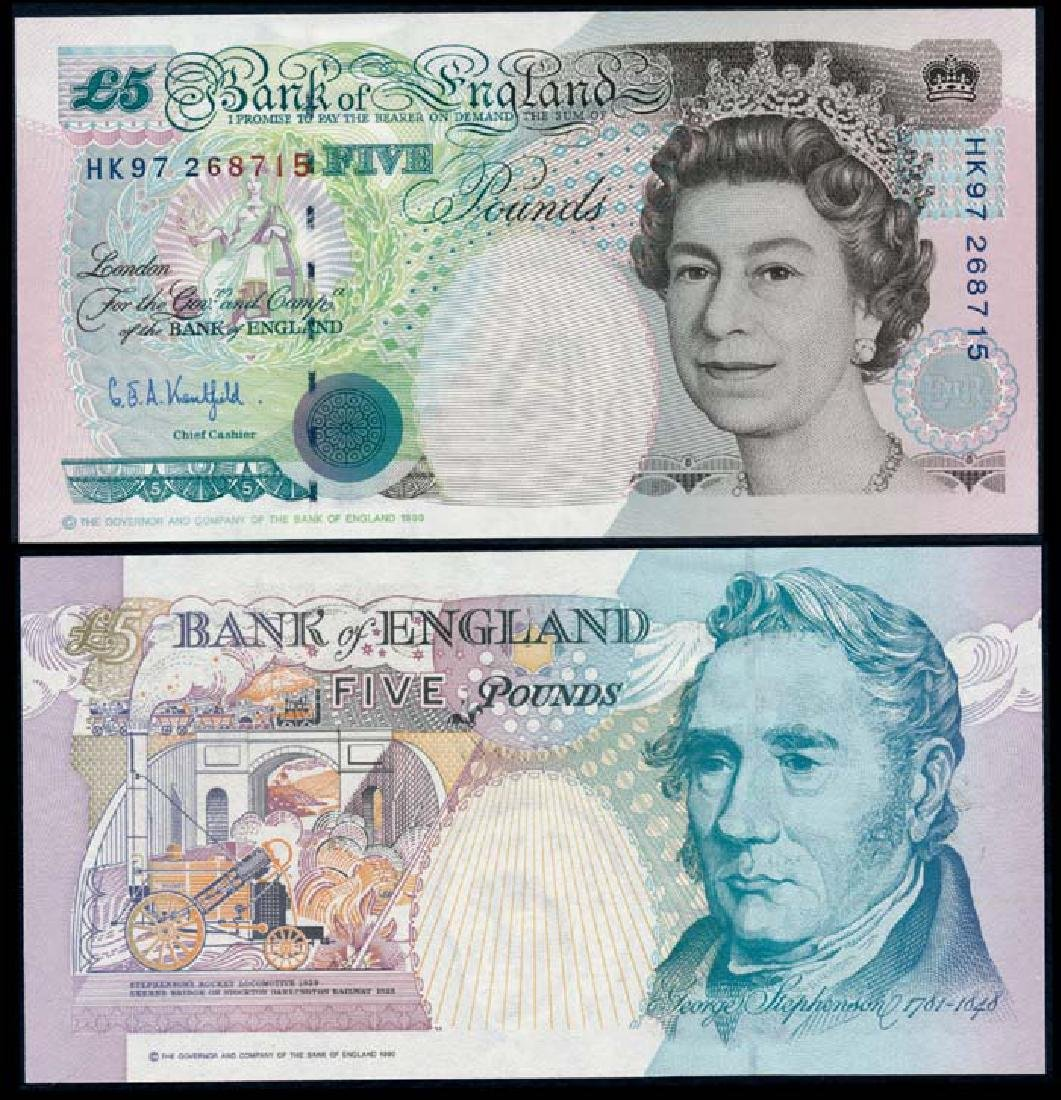 Great Britain 5 Pounds 1990-2002 QEII comm.