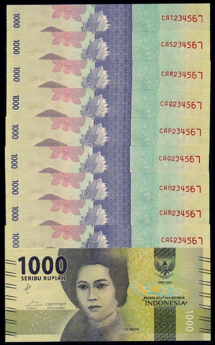 Indonesia 10x1000 Rupiah 2016 all 234567