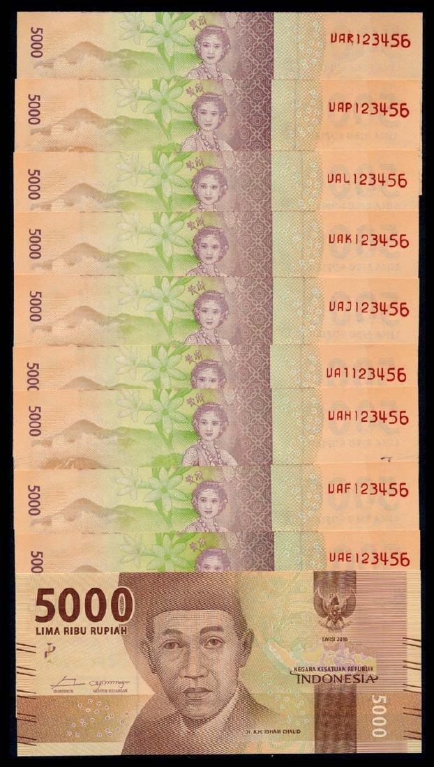 Indonesia 10x5000 Rupiah 2016 all 123456