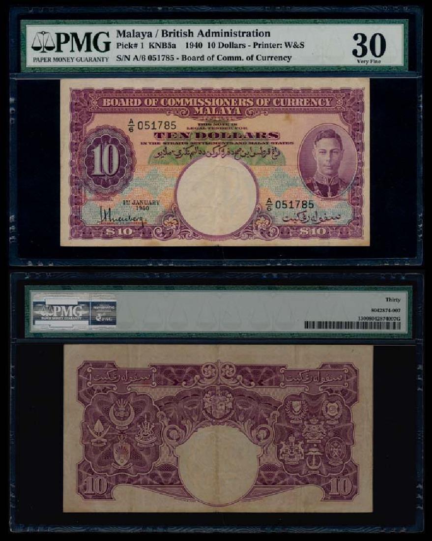 Malaya $10 1940 KGVI PMG VF30