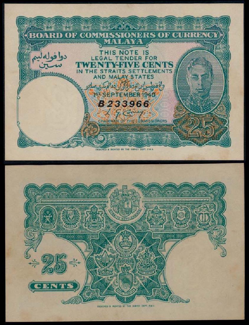 Malaya 25c 1940 KGVI AU