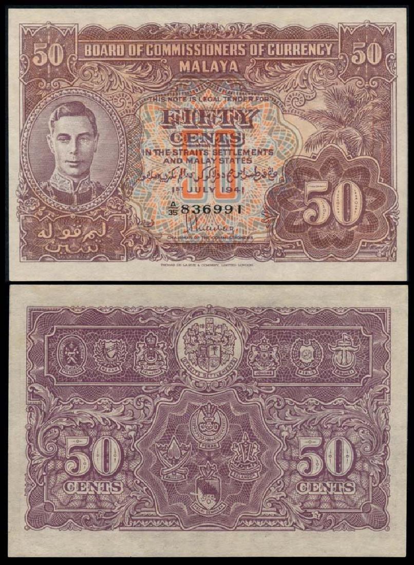 Malaya 50c 1941 KGVI AU