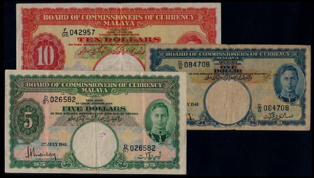 3 Malaya $1-$10 1941 fine to VF