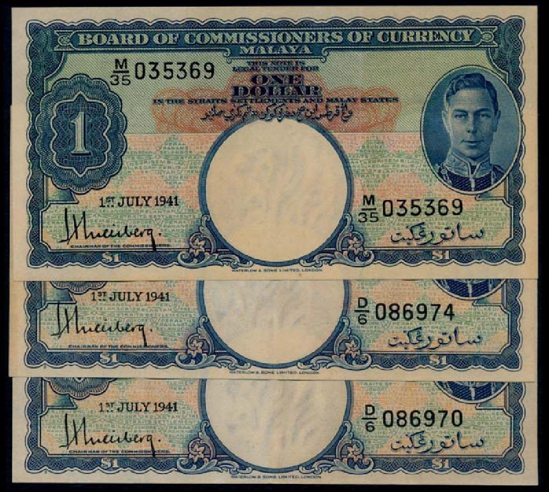 Malaya 3x$1 1941 KGVI original AEF
