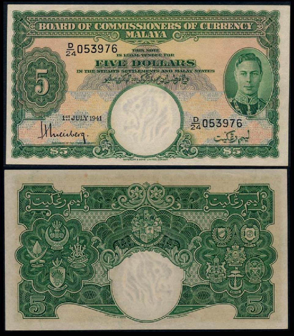 Malaya $5 1941 KGVI GEF