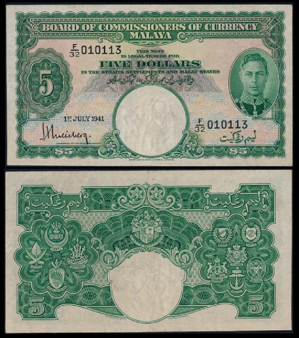 Malaya $5 1941 KGVI VF