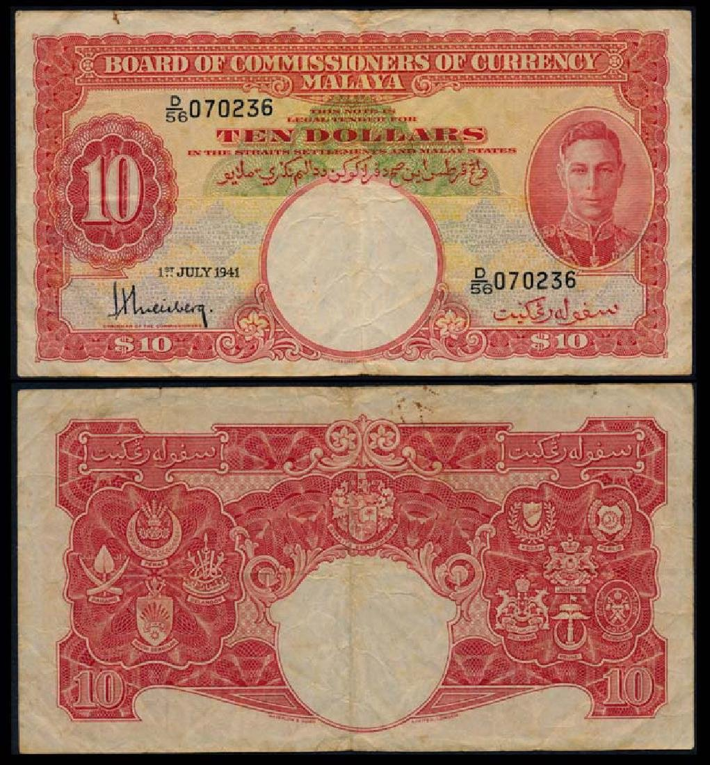 Malaya $10 1941 KGVI good fine
