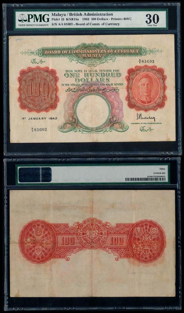 Malaya $100 1942 KGVI PMG VF30