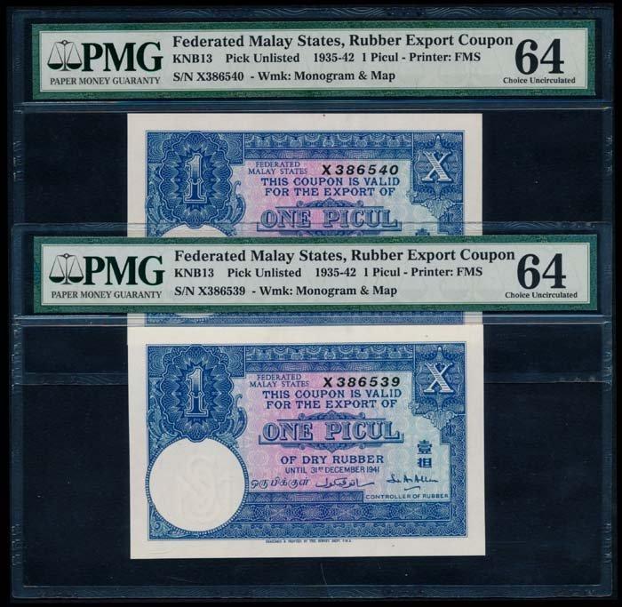 2 Malaya FMS Rubber Export Coupon Picul 1941