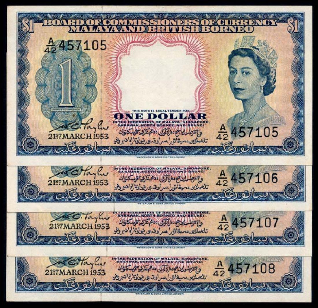4 Malaya Br Borneo $1 1953 QEII
