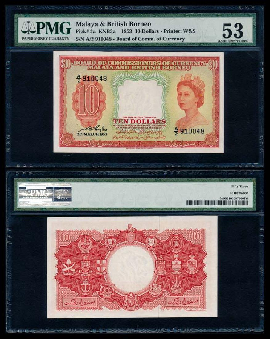 Malaya Br Borneo $10 1953 QEII PMG AU53