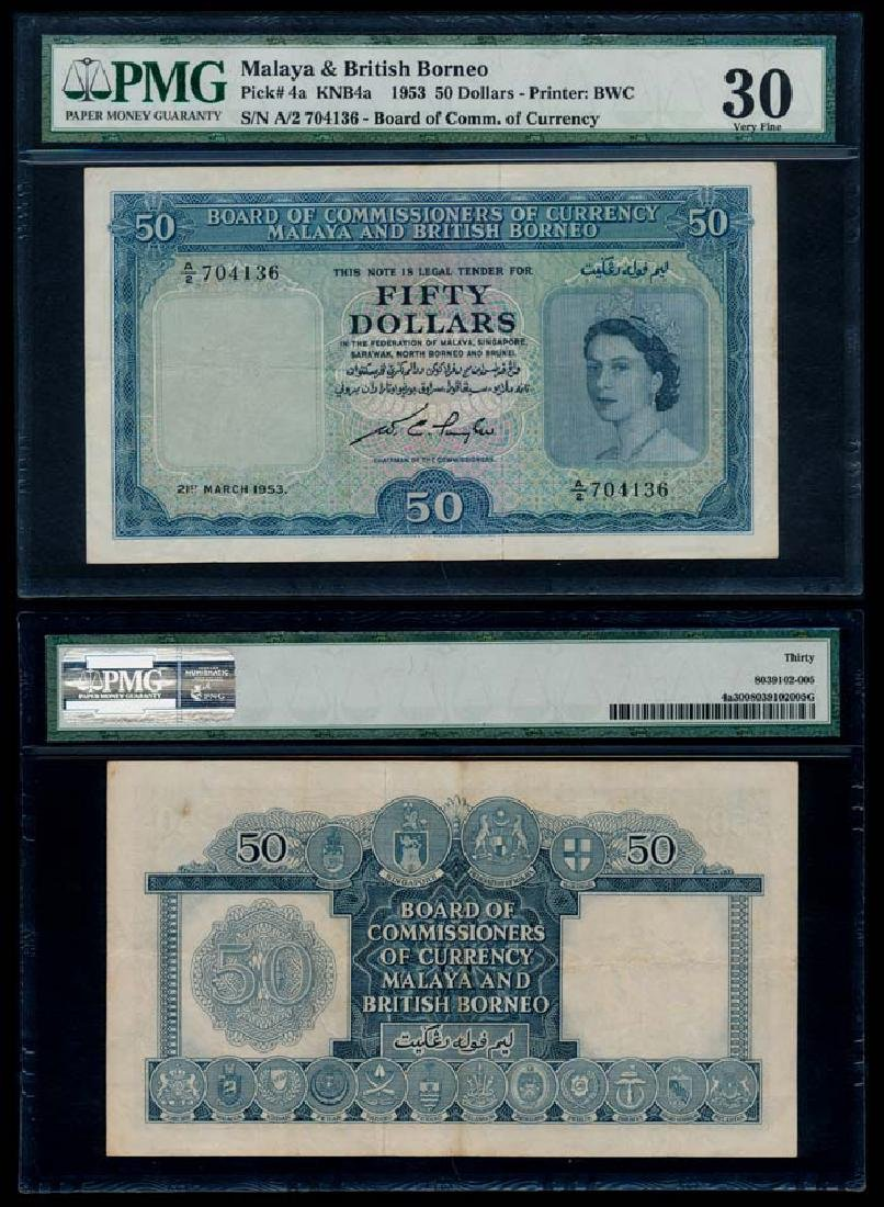 Malaya Br Borneo $50 1953 QEII PMG VF30
