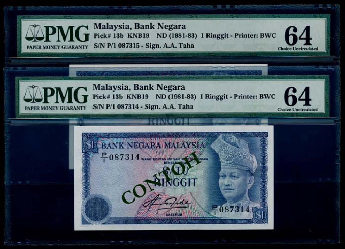 Malaysia 2x$1 1981-83 PMG Choice UNC64