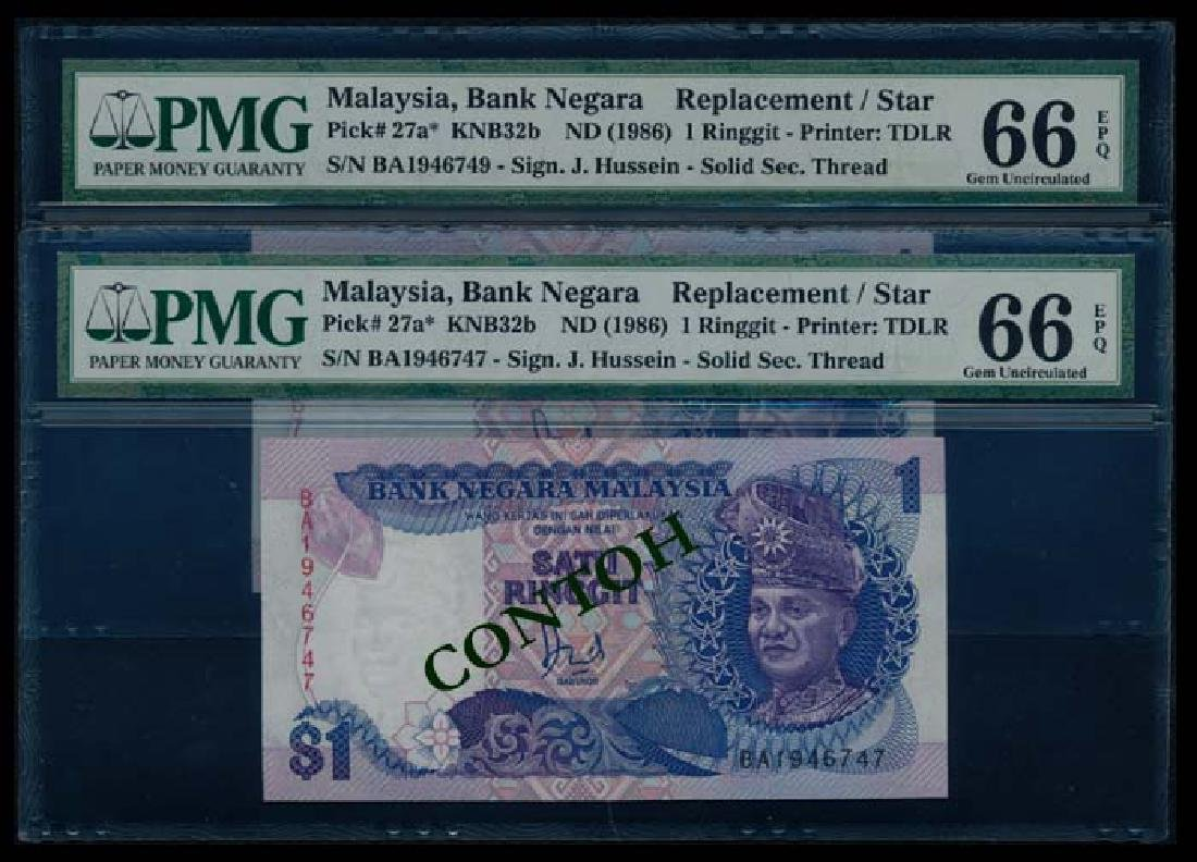 Malaysia 2x$1 1986-95 all replacement PMG