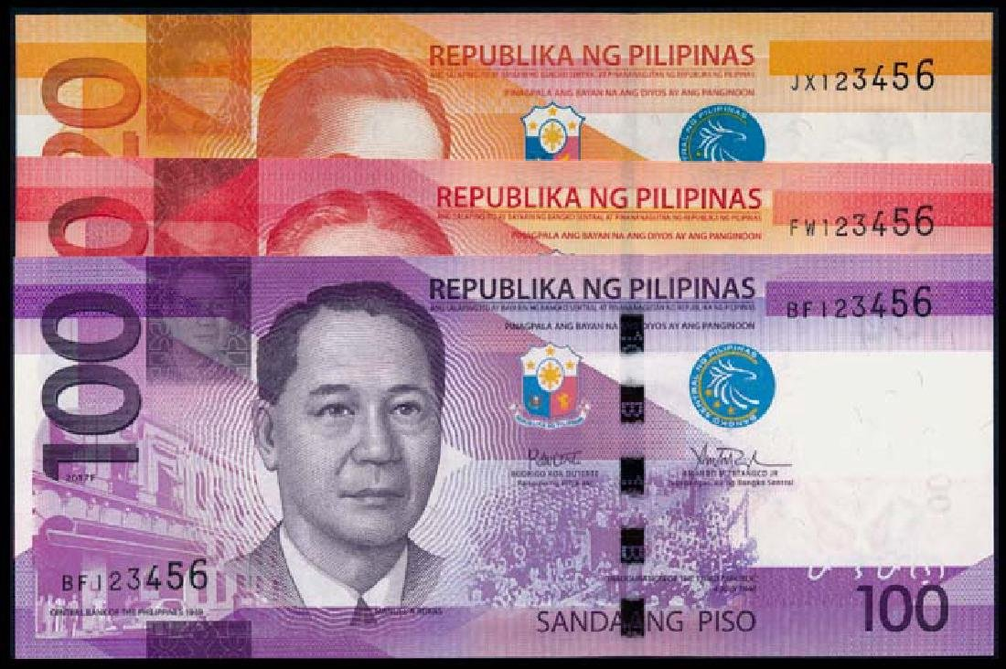 3 Philippines 20-100 Piso 2010-15 all 123456