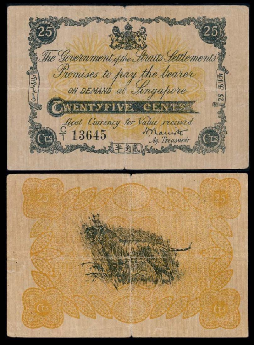 Straits Settlements 25c 1917 about fine