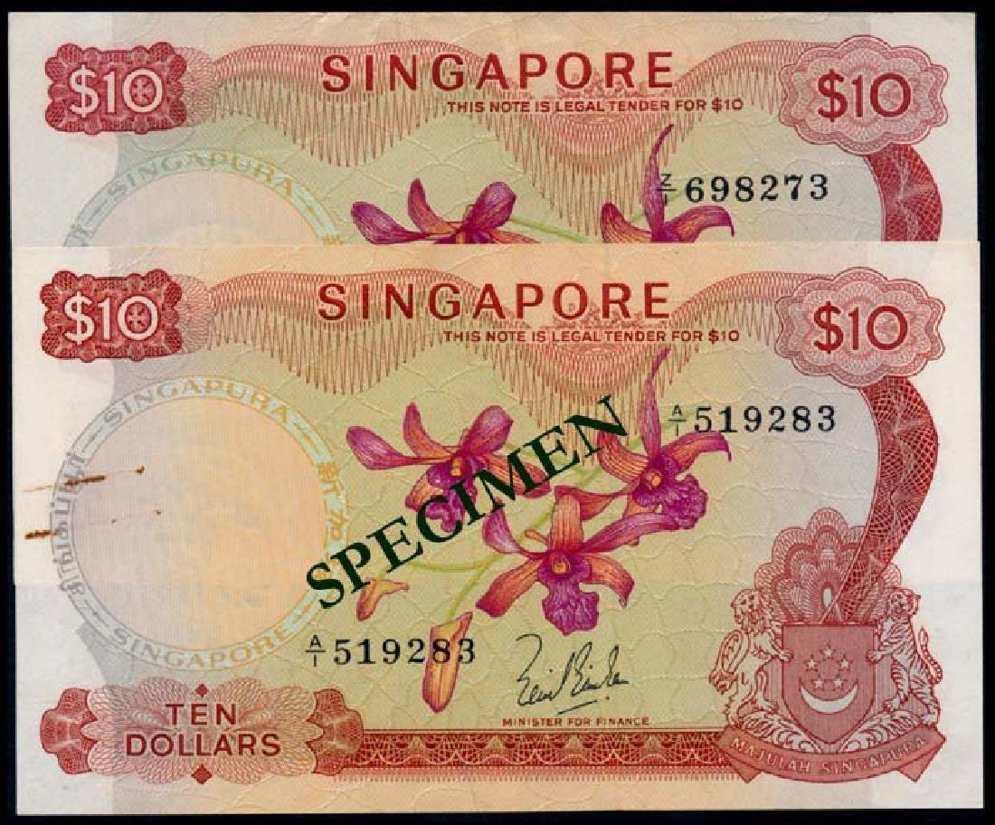 Singapore 2x$10 1967 LKS 1973 HSS w/seal