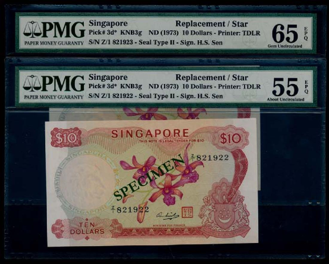 Singapore 2x$10 1973 HSS w/seal replacements