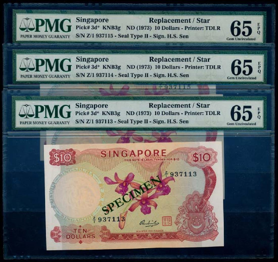Singapore 3x$10 1973 HSS w/seal replacements