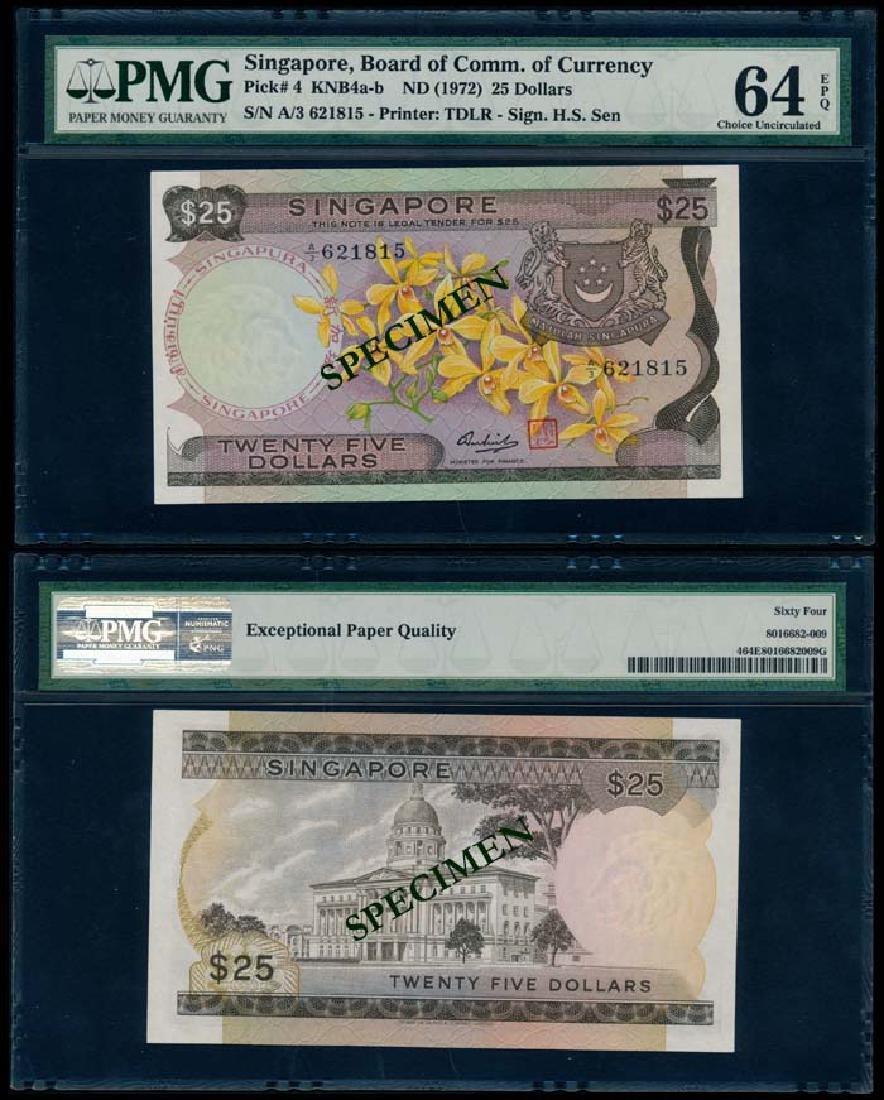 Singapore $25 1972 PMG Choice UNC64EPQ