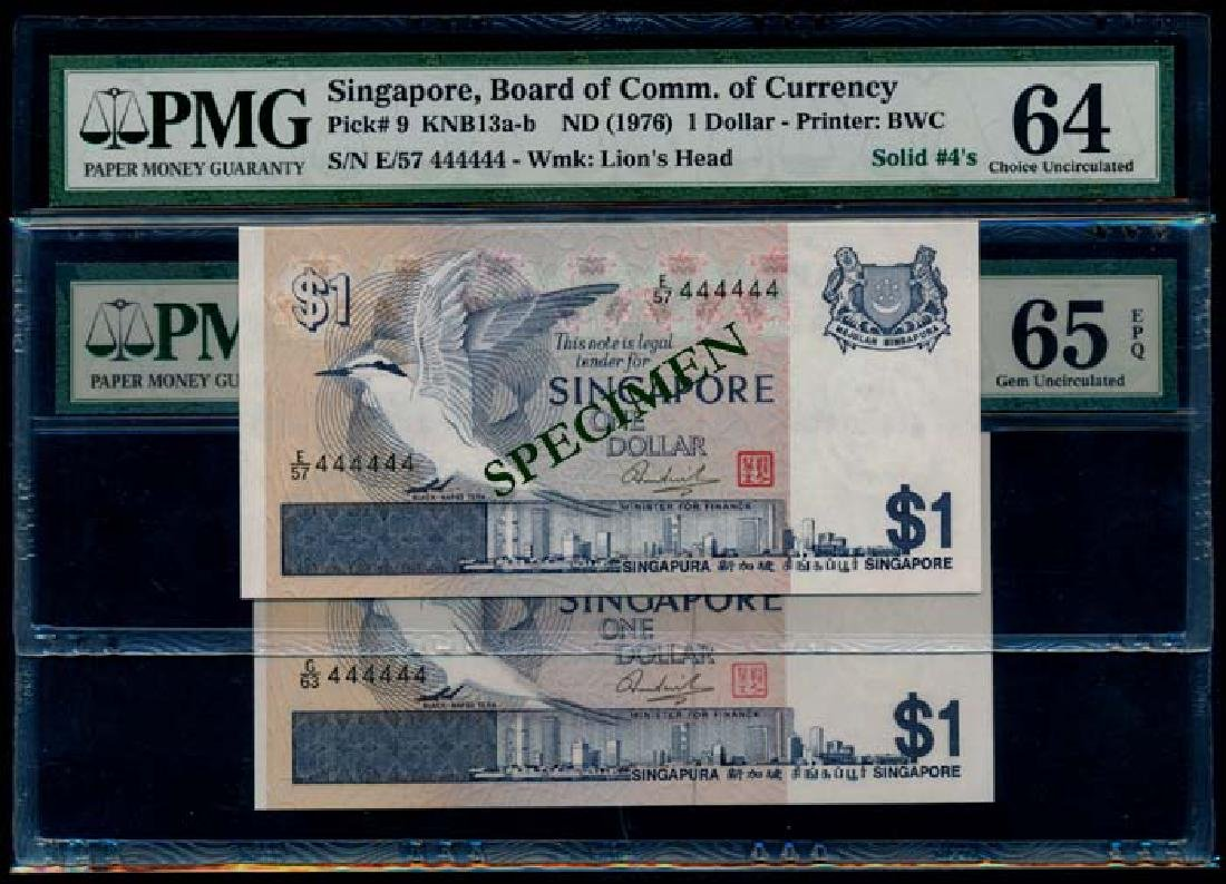 Singapore 2x$1 1976 bird E/57 G/63 444444