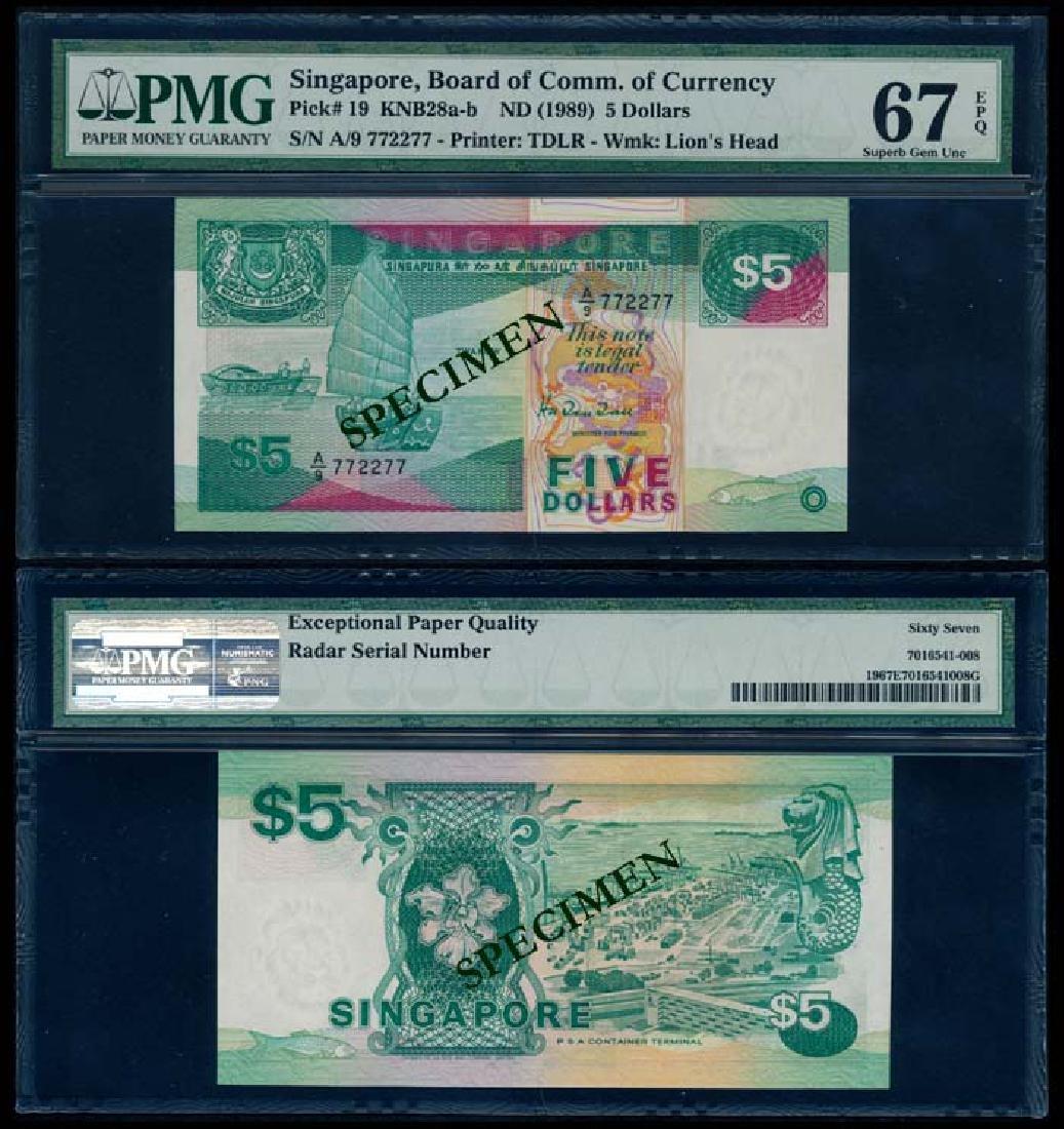 Singapore $5 1989 ship PMG