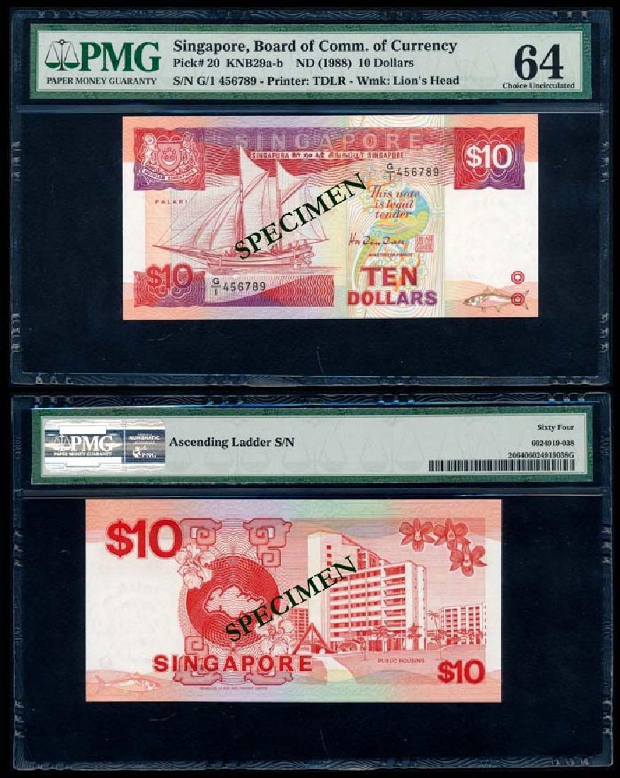 Singapore $10 1988 ship G/1 456789 PMG