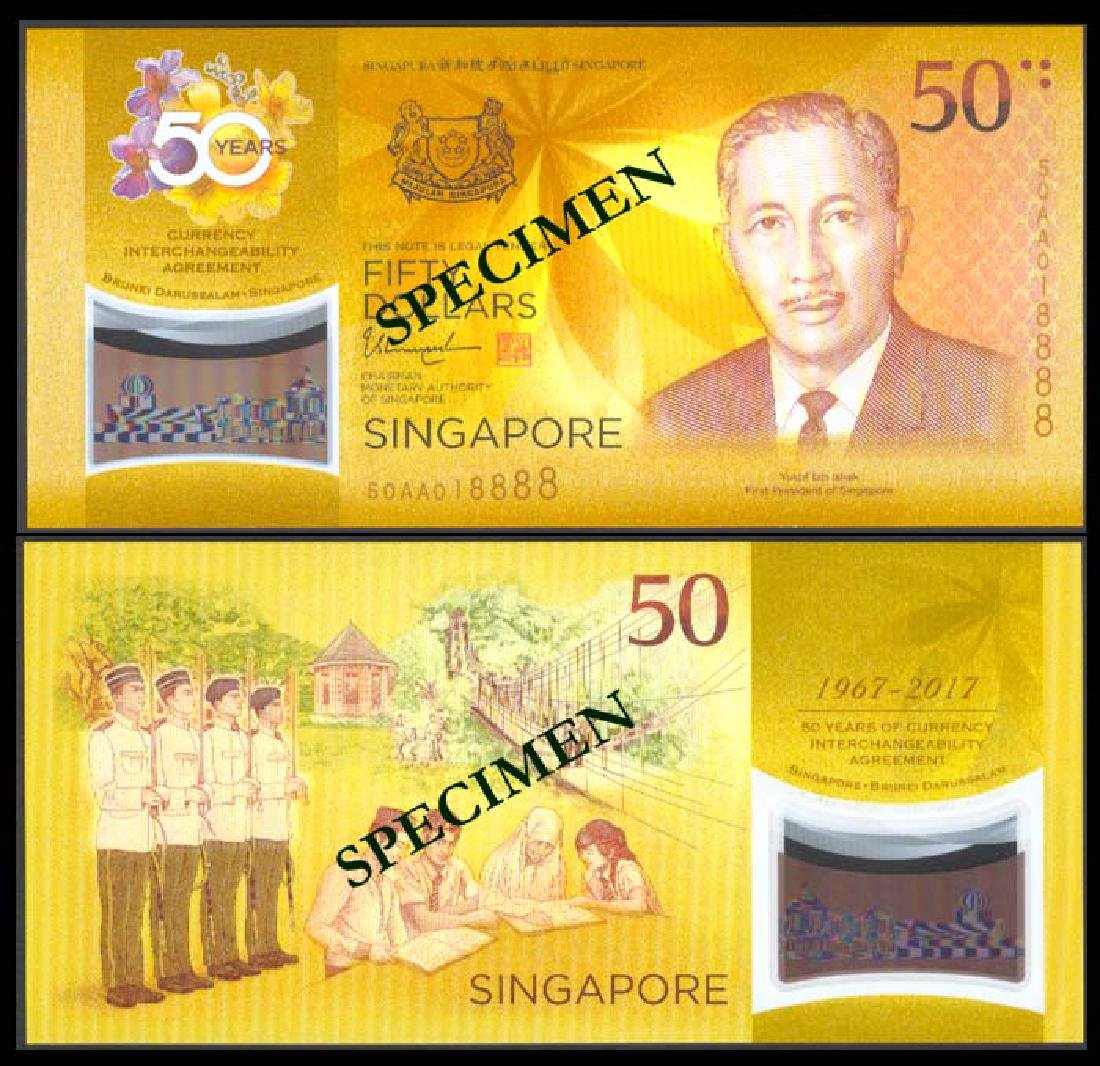 Singapore $50 50th Anniv. CIA AU-UNC