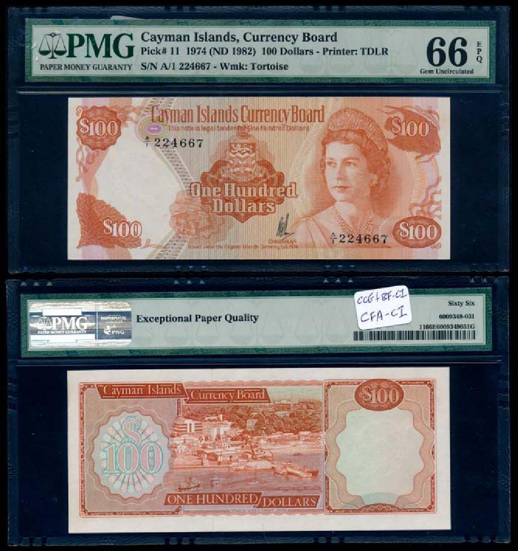 Cayman Islands $100 1982 QEII PMG