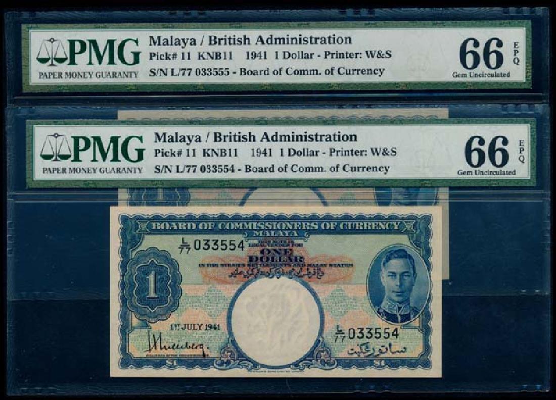 Malaya 2x$1 1941 KGVI PMG