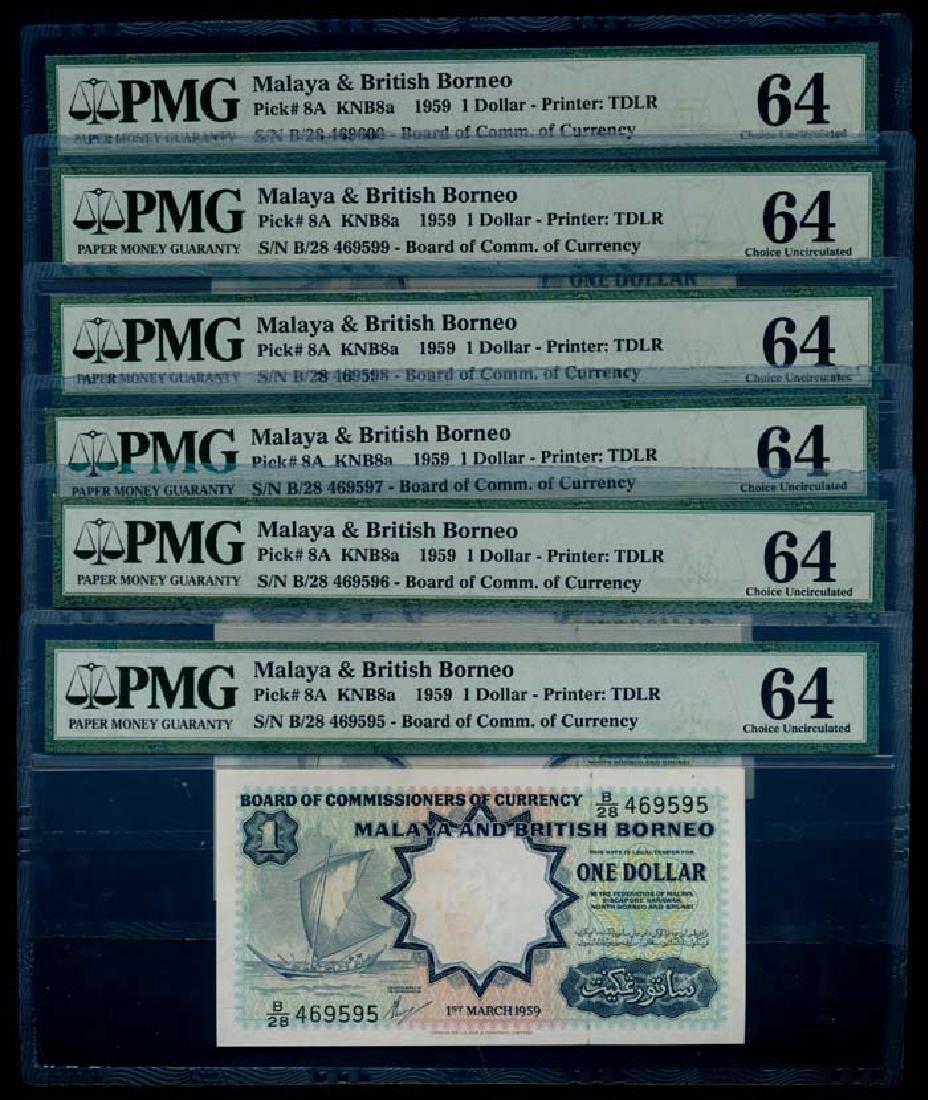 Malaya Br Borneo 6x$1 1959 sailing boat PMG