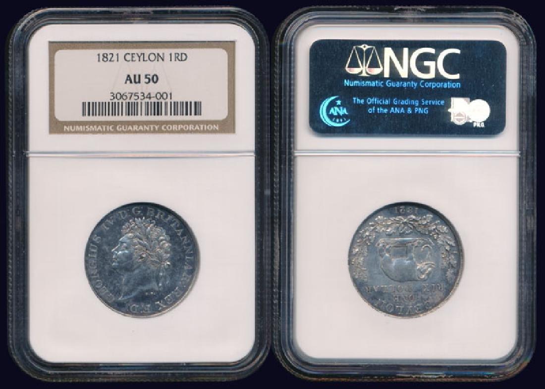 Ceylon George IV Rix Dollar 1821 NGC AU50