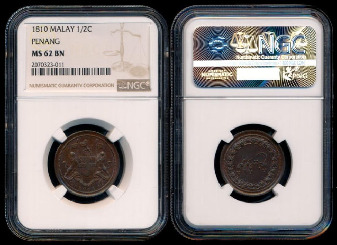 Malaysia Penang 1/2 Pice 1810 NGC MS62BN