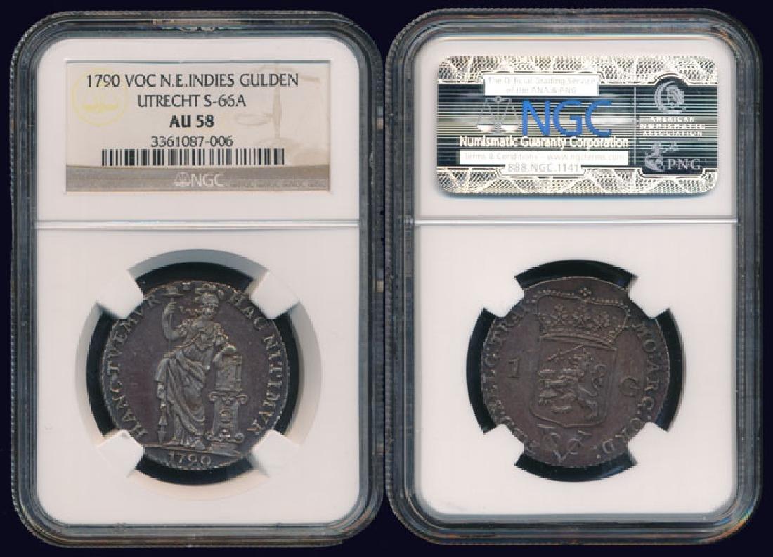 Netherlands East Indies Gulden 1790 NGC AU58