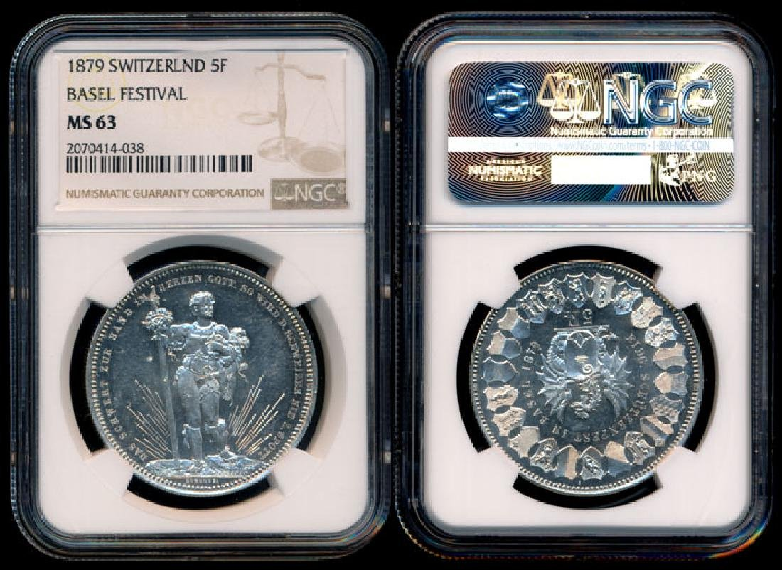Switzerland 5 Francs 1879 NGC MS63