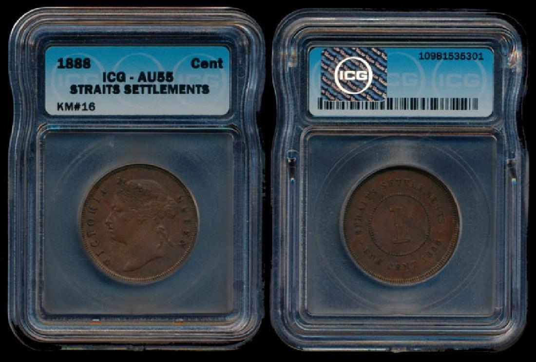 Straits Settlements QV 1c 1888 ICG AU55