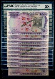 Singapore 10x$1000 1975 HSS w/seal