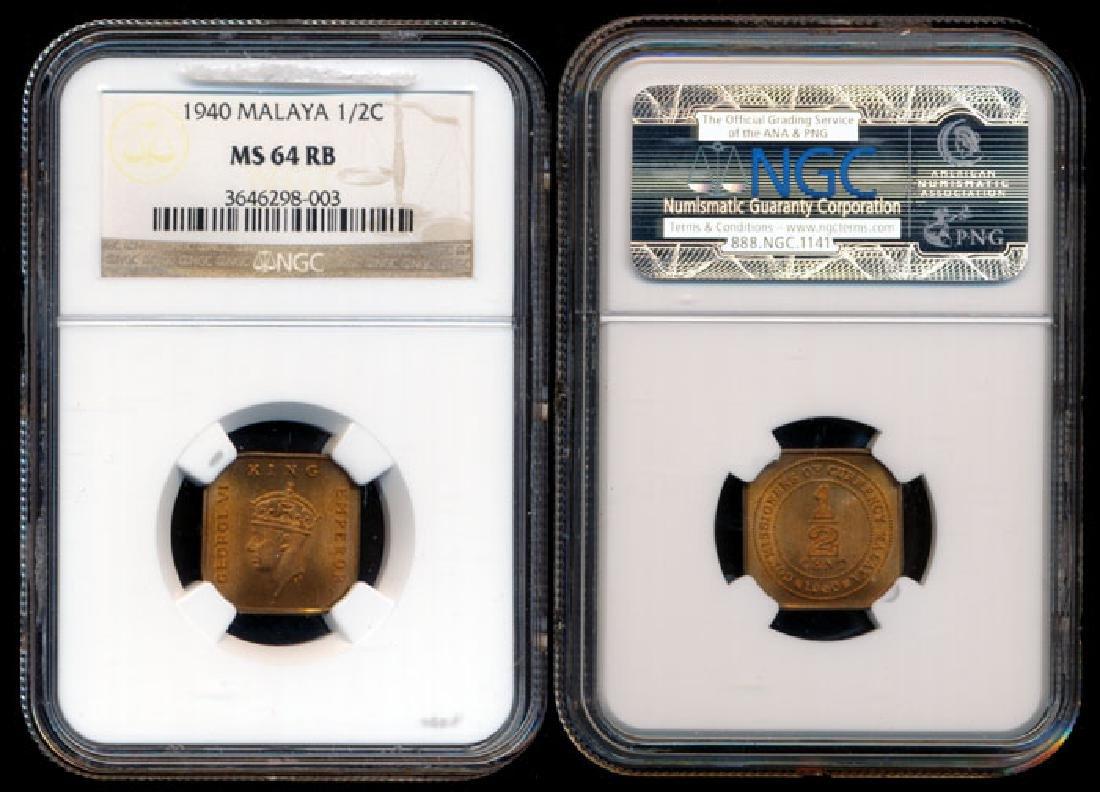Malaya KGVI 1/2c 1940 NGC MS64RB