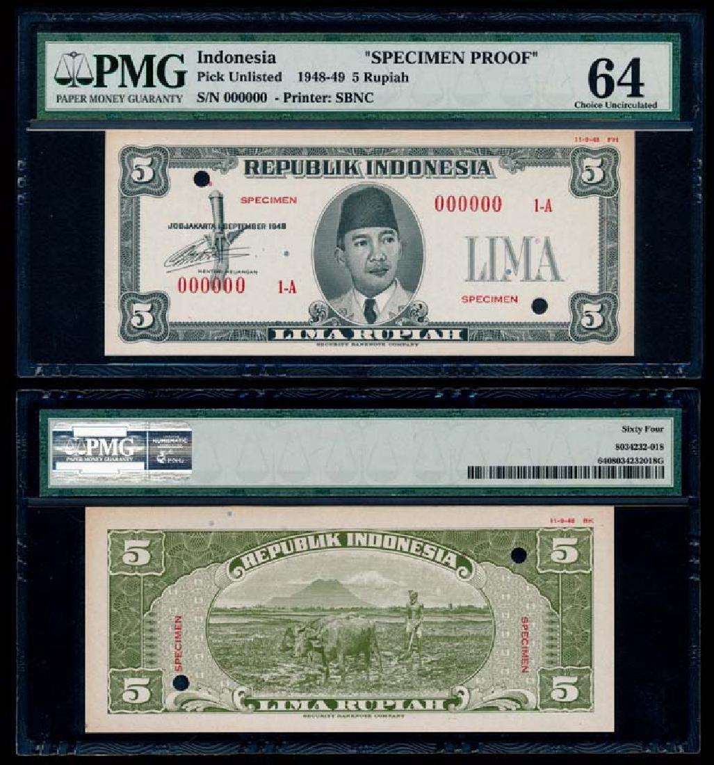 Indonesia 5 Rupiah 1948-49 specimen proof