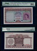 Malaya Br Borneo $50 1953 QEII specimen PMG