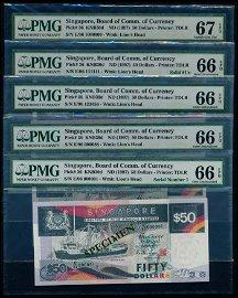 Singapore $50 1997 ship 25pc Fancy No Set