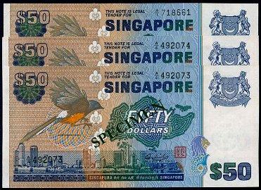 Singapore 3x$50 1976 bird