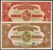 2 Tonga Treasury Note 4Shillings 1Pound 1966