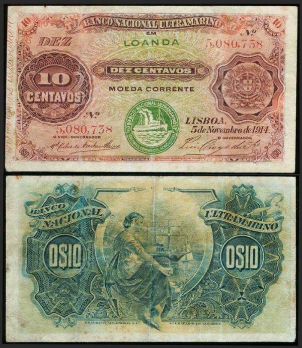 4: Angola 10 Centavos 1914 P40 VF