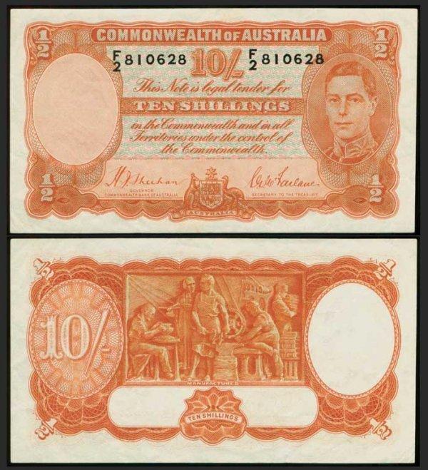5: Australia 10 Shillings KGVI 1939 P25a GVF