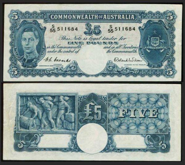 6: Australia 5 Pounds ND 1952 KGVI  AVF
