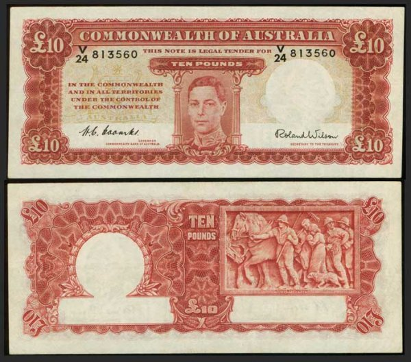 7: Australia 10 Pounds ND 1952 KGVI  P28d AEF